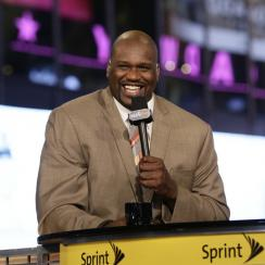 Shaq falls on the set of Inside the NBA.