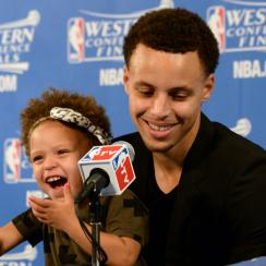 Stephen Curry daughter Riley press conference Warriors
