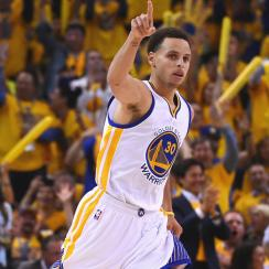 Stephen Curry scored 34 points in Warriors' Game 1 victory over James Harden, Rockets.