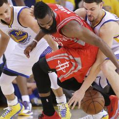 James Harden turned the ball over on Game 2's final possession as Golden State Warriors took 2-0 lead on Houston Rockets.