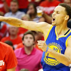 Stephen Curry, Golden State Warriors defeated Houston Rockets to take 3-0 series lead.