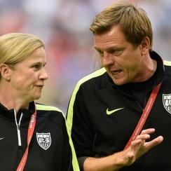 USA coaches Jill Ellis, Tony Gustavsson
