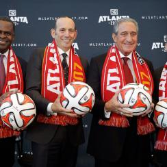 Atlanta Mayor Kasim Reed, Major League Soccer Commissioner Don Garber, Atlanta Falcons owner Arthur Blank and Executive Director of the Georgia World Congress Center Authority Frank Poe