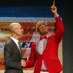 D'Angelo Russell and Adam Silver