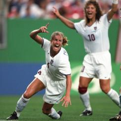 USA's Brandi Chastain celebrates her goal against Germany in the 1999 Women's World Cup