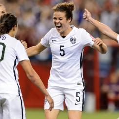 USA's Kelley O'Hara and Carli Lloyd are at the center of the celebration during a 2-0 win over Germany in the Women's World Cup semifinals.