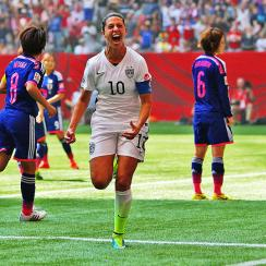 Carli Lloyd celebrates one of her three goals for the USA vs. Japan in the Women's World Cup final