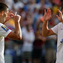 Clint Dempsey and Aron Johannsson celebrate after a USA goal against Cuba in the Gold Cup