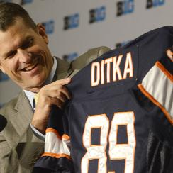 Jim Harbaugh showed off a Mike Ditka jersey at Big 10 Media Days on Friday.