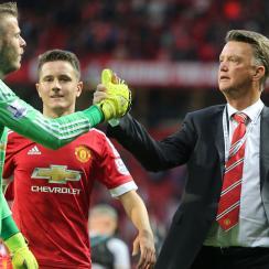 Manchester United goalkeeper David de Gea, manager Louis van Gaal