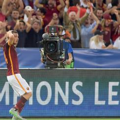 Alessandro Florenzi is stunned after his long-range goal for Roma vs. Barcelona in the Champions League
