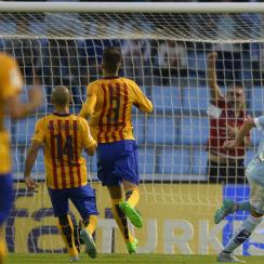 Iago Aspas celebrates one of his goals for Celta Vigo vs. Barcelona
