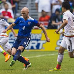 Michael Bradley playing for the USA vs. Mexico in an April 2-0 win