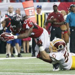 devonta freeman touchdown catch overturned video