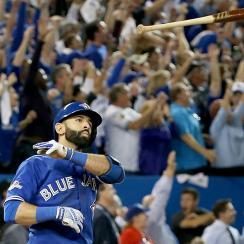 blue jays rangers alds jose bautista home run brawl video