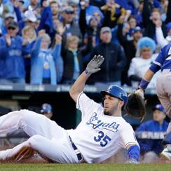 The Royals' unlikely decision to have Eric Hosmer try and steal second later paid off when he scored the tying run in the midst of their game-winning rally.