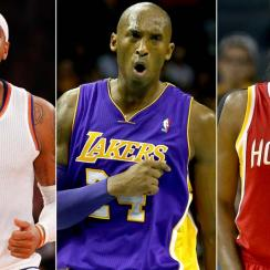Carmelo Anthony, Kobe Bryant, James Harden