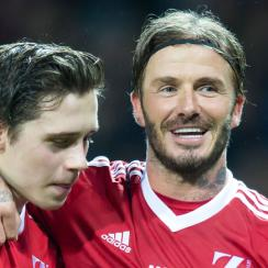 david beckham subbed out son Brooklyn unicef match