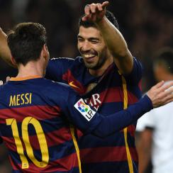 Luis Suarez and Lionel Messi combined for seven goals in a 7-0 Barcelona win over Valencia