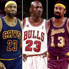 Magic Johnson, LeBron James, Michael Jordan, Wilt Chamberlain, Larry Bird