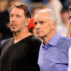 Indian Wells CEO Raymond Moore (center) pictured with Oracle CEO Larry Ellison and Charlie Pasarell during a charity event in 2010.