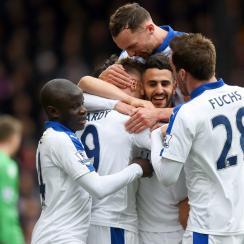 Leicester City stars Jamie Vardy, Riyad Mahrez, N'golo Kante and Christian Fuchs