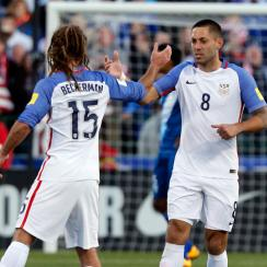 Clint Dempsey, Kyle Beckerman celebrate in the USA's World Cup qualifying match vs. Guatemala