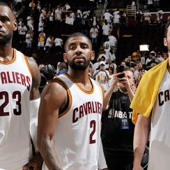 LeBron James, Kyrie Irving and Kevin Love