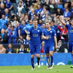 Leicester City's Robert Huth, Christian Fuchs, Leonardo Ulloa and Danny Drinkwater