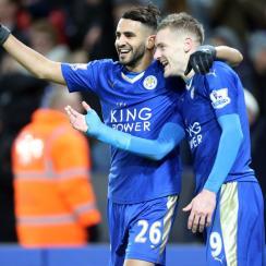 Leicester City stars Jamie Vardy and Riyad Mahrez