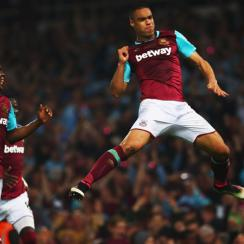 Winston Reid celebrates his winner for West Ham over Manchester United