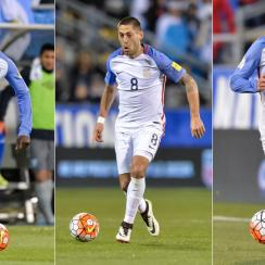 USA forwards Gyasi Zardes, Clint Dempsey, Bobby Wood