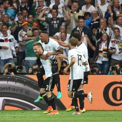 Germany celebrates a 2-0 win over Ukraine to open Euro 2016