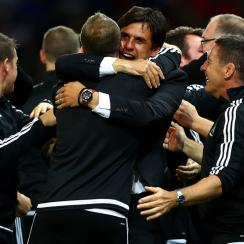 Wales manager Chris Coleman celebrates a Euro 2016 win over Belgium