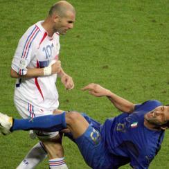 Zinedine Zidane headbutts Marco Materazzi in the 2006 World Cup final
