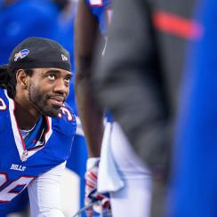 Bills CB Mario Butler watches from the sidelines