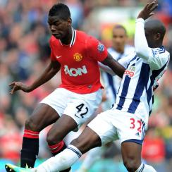 Paul Pogba playing for Manchester United in 2012