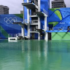 olympic diving pool green water closed