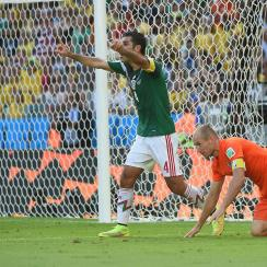 Arjen Robben was tripped by Rafa Marquez in the 2014 World Cup round of 16