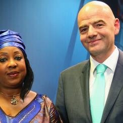 FIFA secretary general Fatma Samoura and president Gianni Infantino