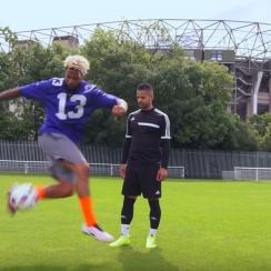 Odell Beckham displays his soccer skills