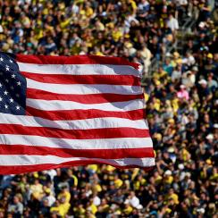 American flag, Michigan Wolverines vs. Penn State Nittany Lions