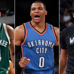 Giannis Antetokounmpo, Russell Westbrook and Karl-Anthony Towns
