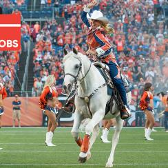 Broncos horse mascot Thunder III needs handlers, poop-scoopers throughout NFL Sunday