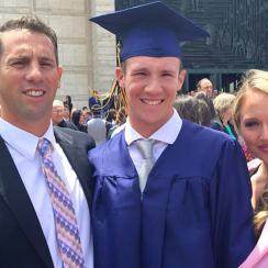 Calvin Riley and his parents, Sean and Kariann, on his high school graduation.