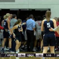 UNLV-Utah State women's basketball brawl (video)
