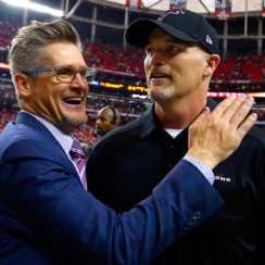 Atlanta Falcons GM Thomas Dimitroff and coach Dan Quinn.