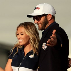 Dustin Johnson and Paulina Gretzky at the 2016 Ryder Cup.