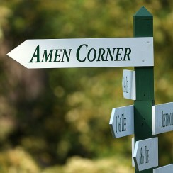 A sign for Amen Corner at Augusta National Golf Club.