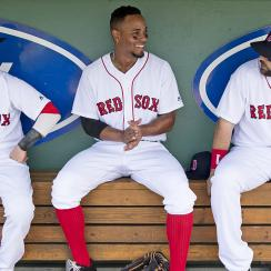 Dustin Pedroia, Xander Bogaerts and Mitch Moreland, Boston Red Sox